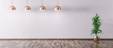 Zaal met de lampen van het kopermetaal het 3d teruggeven Royalty-vrije Stock Afbeelding