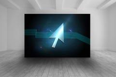 Zaal met futuristisch beeld van pijl Stock Afbeelding