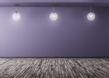 Zaal met lampen 3d teruggeven het als achtergrond stock illustratie