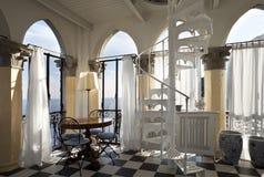 Zaal met oude kolommen Royalty-vrije Stock Foto's