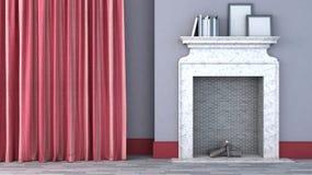 Zaal met rode gordijnen en open haard Stock Foto
