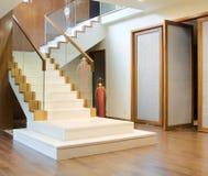Zaal met trap en voordeur Royalty-vrije Stock Afbeeldingen