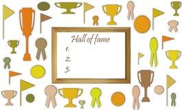 Zaal van bekendheidsconcept met vrije lege exemplaarruimte Koppen, medailles en kentekens met spaties in het houten kadermodel stock illustratie