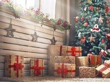 Zaal voor Kerstmis wordt verfraaid die royalty-vrije stock afbeeldingen