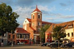 Zaalvierkant in Oude Stad van Kaunas Stock Afbeeldingen