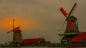 Windmills at Zaanse Shans near Amsterdam. Zaamdam, Netherlands - some of the windmills of the Zaanse Shans neighborhood in the historic Dutch village image with stock photos