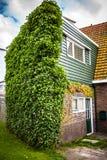 ZAANDAM, PAÍSES BAIXOS - 14 DE AGOSTO DE 2016: Close-up holandês residencial tradicional das construções Opinião geral da paisage Fotografia de Stock