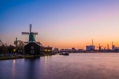 Zaanse Schaans på solnedgången Royaltyfri Fotografi