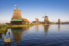 Zaanse Schans历史的风车在阿姆斯特丹,荷兰 免版税库存照片