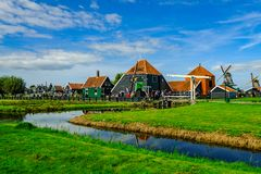 Zaanse Schans. Buildings and windmills in Zaanse Schans, North Holland royalty free stock photos