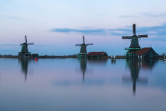 Zaanse Schans at dusk. Zaanse Schans  a small touristic place in Zaandam in North Holland Royalty Free Stock Photo