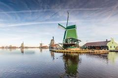 Zaanse Schans. General view Zaanse Schans Zaandam in the Netherlands with the historic Mills De Gekroonde Poelenburg on tthe foreground, De Zoeker, Het Jonge stock images