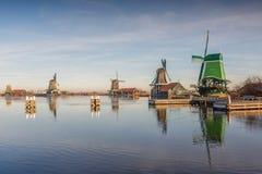 Zaanse Schans. General view Zaanse Schans Zaandam in the Netherlands with the historic Mills De Gekroonde Poelenburg on tthe foreground, De Zoeker, Het Jonge stock image