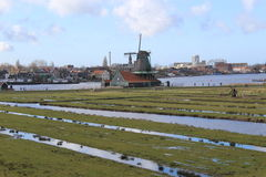Zaanse Schans landscape, windmills Stock Photo