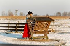 ZAANSE SCHANS, NEDERLÄNDERNA - en flicka på lantgården Royaltyfri Bild