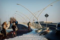 ZAANSE SCHANS, NEDERLÄNDERNA - folk som rider cyklar på vägen Royaltyfria Foton