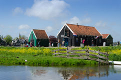 Zaanse Schans, Netherlands - May 5, 2015: Tourists visit rural house in Zaanse Schans Royalty Free Stock Photography