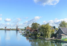 Zaanse Schans, Netherlands. Traditional rural houses near the canal. Zaanse Schans. Netherlands stock image