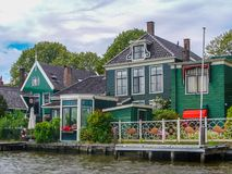 Zaanse Schans. Old wooden houses from19 century on the canals at Zaanse Schans, in Noord-Holland province stock photography