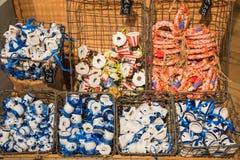 Zaanse Schans, Países Baixos - 13 de dezembro de 2016: Decorações na vila de Zaanse Schans, Holanda Fotografia de Stock Royalty Free