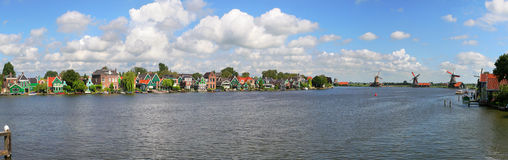 Zaanse Schans panoramic view. Royalty Free Stock Images