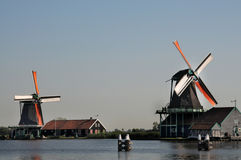 Zaanse Schans. Is a small village near Amsterdam in the province of North Holland, Netherlands. It has a collection of well-preserved historic windmills and stock photos
