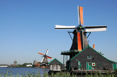 Zaanse Schans. Is a small village near Amsterdam in the province of North Holland, Netherlands. It has a collection of well-preserved historic windmills and royalty free stock photos
