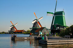 Zaanse Schans. Is a small village near Amsterdam in the province of North Holland, Netherlands. It has a collection of well-preserved historic windmills and stock images