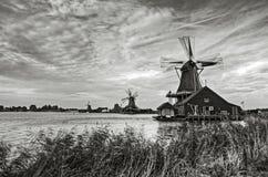 Zaanse Schans. Traditional Dutch windmills at Zaanse Schans, blades of the windmills in motion Stock Image