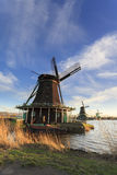 Zaanse Schans typical windmills. Royalty Free Stock Images