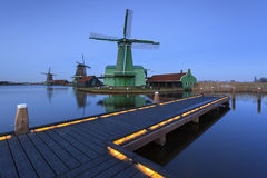 Zaanse Schans typical windmills at night Royalty Free Stock Image