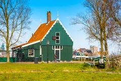 Zaanse Schans village, Holland, green house, people Stock Image