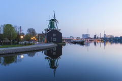 Zaanse Schans Windmill at sunset Royalty Free Stock Image