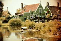 Zaanse schans. Holland village landscape stock photos