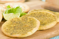 Zaatar & Cheese Manakish Royalty Free Stock Photos
