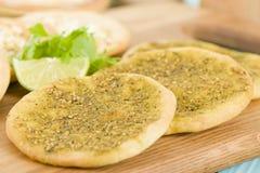 Zaatar & Cheese Manakish Royalty Free Stock Photos