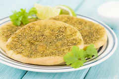 Zaatar Manakish Stock Photo