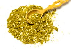 Zaatar, middle eastern spice mix, isolated on white background Stock Photo