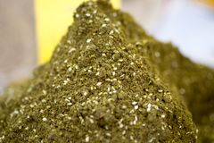 Zaatar spice, a blend of hyssop, sumac, sesame and salt. Sold at local farmers market royalty free stock images