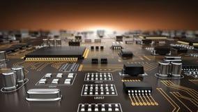 Zaawansowany technicznie elektroniczny PCB Drukował obwód deskę z procesorem i mikroukładami ilustracja wektor