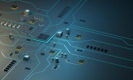 Zaawansowany technicznie elektroniczny PCBwith procesor, mikroukłady i jarzyć się cyfrowych elektronicznych sygnały, Zdjęcie Royalty Free