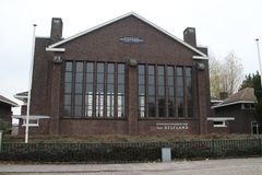 Zaayer diesel water pumping station in Maassluis as an outlet station in the Netherlands. Zaayer diesel water pumping station in Maassluis as an outlet station royalty free stock image