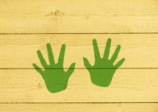 Zabaw handprints na ścianie fotografia royalty free