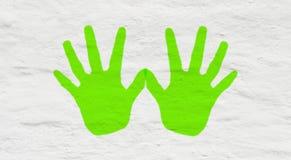 Zabaw handprints na ścianie Obraz Royalty Free
