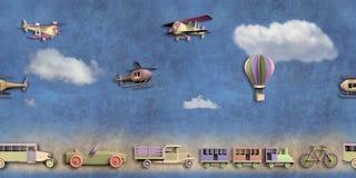 Zabawa bezszwowy wzór z transport zabawkami Zdjęcia Stock