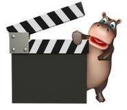 Zabawa hipopotama postać z kreskówki z clapboard Obraz Royalty Free