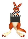 Zabawa kangura postać z kreskówki z clapboard Zdjęcia Stock