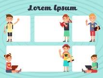 Zabawa obramia dzieciaka układ Wektor broszurki texting tła z kreskówek dziećmi ilustracja wektor
