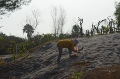 Zabawa piaska diuny bawić się podczas gdy łgarski puszek z ich swój ciepłem zdjęcie stock