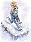 Zabawa w śniegu Zdjęcia Royalty Free